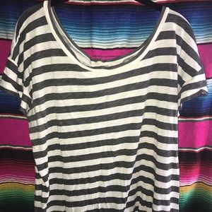 J.Crew striped button back t-shirt